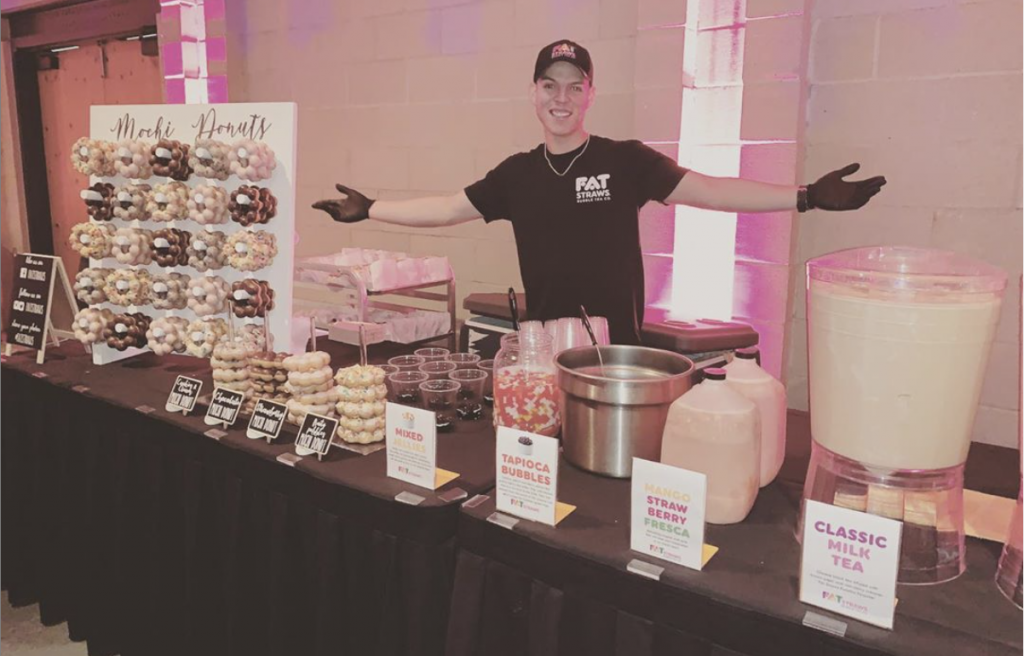 on-site catering setup with Fat Straws staff